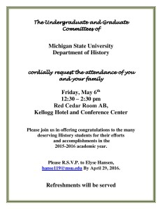 History Department Awards Ceremony @ Kellogg Hotel and Conference Center