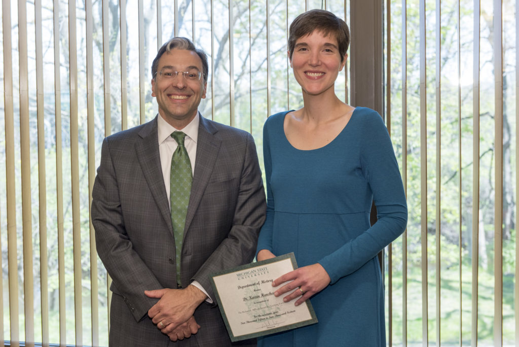 Dr. Karrin Hanshew, winner of Faculty Teaching Prize, with Department Chair Walter Hawthorne. Photo by Jackie Hawthorne