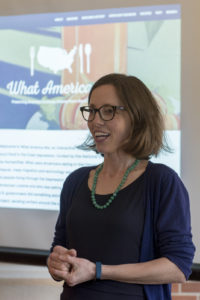 Dr. Helen Zoe Veit, MSU Historian and Principal Investigator for the project, shows off the What America Ate website.