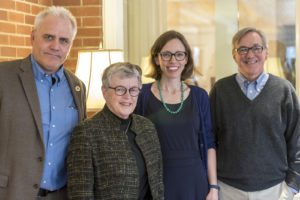 Dean Rehberger, MATRIX, MSU President Lou Anna K. Simon, Helen Veit, MSU History, and Peter Berg, MSU Library Special Collections at the launch of What America Ate at Cowles House.