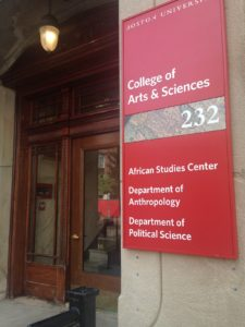 Sign outside African Studies Center, Boston University
